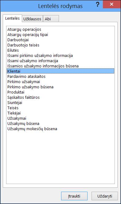 """Dialogo langas Rodyti lentelę programoje """"Access"""", kuriame rodomi lentelių pavadinimai"""