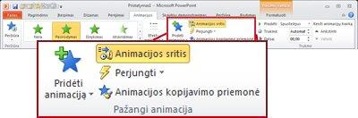 """Grupė Išplėstinė animacija """"PowerPoint 2010"""" juostelės skirtuke Animacija."""