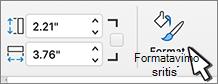 Pasirinkta formatavimo srities mygtukas