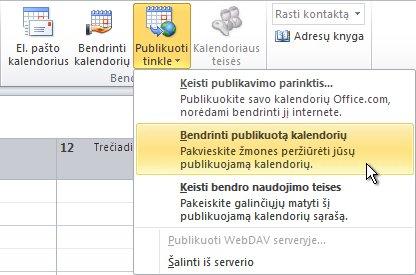 Juostelės komanda Bendrinti publikuotą kalendorių