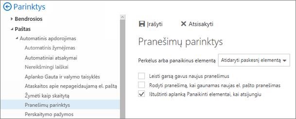 Ekrano nuotrauka rodo dialogo langą Pranešimų parinktys, kuriame pažymėtas žymės langelis Ištuštinti aplanką Panaikinti elementai, kai aš atsijungiu.