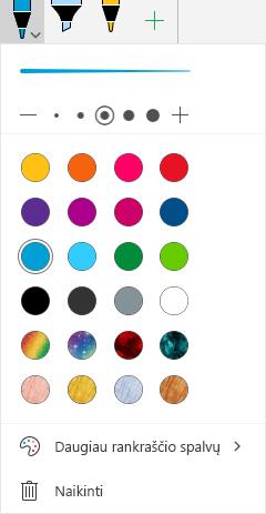 """Rankraščio spalvos ir efektai piešimo su rankraščiu """"Office"""" sistemoje """"Windows Mobile"""""""