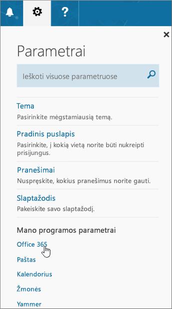 """""""Office 365"""" parametrų puslapis"""