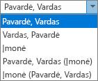 """""""Outlook"""" funkcijos žmonėms, rodantis failą kaip tvarka sąrašo parinkčių."""
