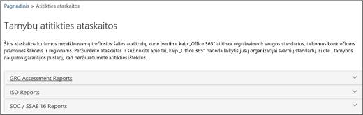 Rodo tarnybos naujumo garantijos puslapį: Tarnybos atitikties ataskaitos.