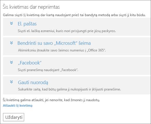 """Ekrano nuotrauka dialogo langą laukiama kvietimo parinktis, kad siųsti saitą, dar kartą per elektroninio pašto, """"Microsoft"""" Family, """"Facebook"""" arba Pasirinktinis saitas ir nuorodą atšaukti kvietimą."""