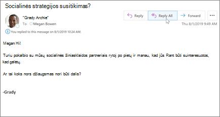 """Atsakymas į el. laišką programoje """"Outlook"""""""