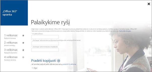 """Įveskite abonemento informaciją, kad galėtumėte prisijungti prie savo """"Exchange"""" serverio."""