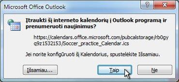 """Visų į """"Outlook"""" įtraukiamų kalendorių dialogo langas"""