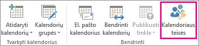 """Mygtukas Kalendoriaus teisės programoje """"Outlook 2013"""" skirtuke Pagrindinis"""