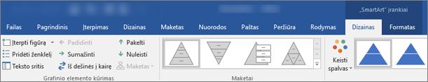 """""""SmartArt"""" įrankiai, dizainas ir formatuoti skirtukai"""