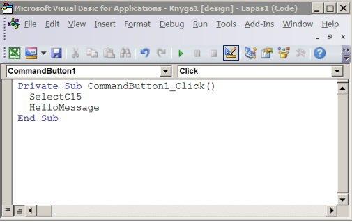 "Paprogramė ""Visual Basic"" rengyklėje"