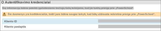 """Pasirinkite duomenų konfigūraciją, norėdami peržiūrėti priedo """"OAuth"""" kredencialus"""