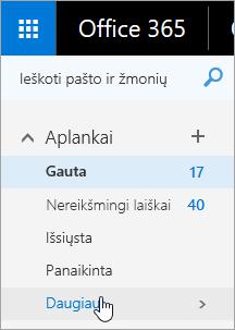 """Žymeklio, esančio naršymo srityje virš mygtuko Daugiau, žiniatinklio programoje """"Outlook"""" ekrano nuotrauka."""