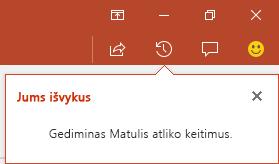 """Naudojant """"PowerPoint for Office 365"""", rodoma, kas atliko pakeitimus jūsų bendrintame faile, kol nestebėjote"""