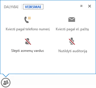 meniu, kuris rodomas, kai pelės žymiklis laikomas ant mygtuko Žmonės, su pasirinktu skirtuku Veiksmai ekrano nuotrauka