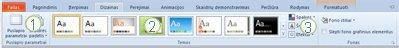 """Skirtukas Dizainas programos """"PowerPoint 2010"""" juostelėje."""
