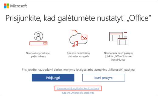 """Rodomas saitas, kurį reikia spustelėti norint įvesti """"Microsoft"""" HUP produkto kodą"""