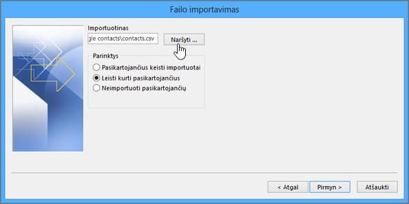 Kontaktų .csv failo radimas ir pasirinkimas, kaip norite tvarkyti pasikartojančius kontaktus