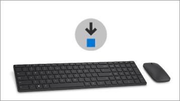 Atsisiuntimo piktograma, pelė bei klaviatūra