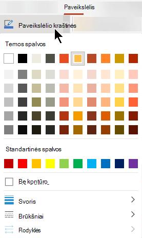 Meniu paveikslėlio kraštinės yra spalvos, storio ir linijos stiliaus parinktys.