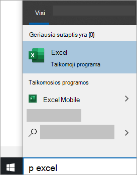 """Programėlės ieškos """"Windows 10"""" ekrano nuotrauka"""