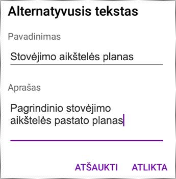 """Alternatyviojo teksto įtraukimas į vaizdus programoje """"OneNote"""", skirtoje """"Android"""""""