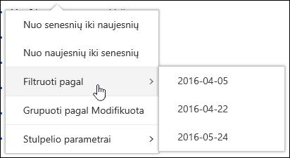"""Filtruoti dokumentų bibliotekos rodinio """"Office 365"""""""