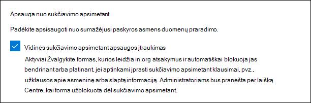 """""""Microsoft Forms"""" administratoriaus nustatymas sukčiavimui apsaugoti"""