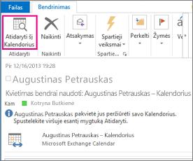 Mygtukas Atidaryti kalendorių, kai gautas kalendoriaus bendrinimo kvietimas