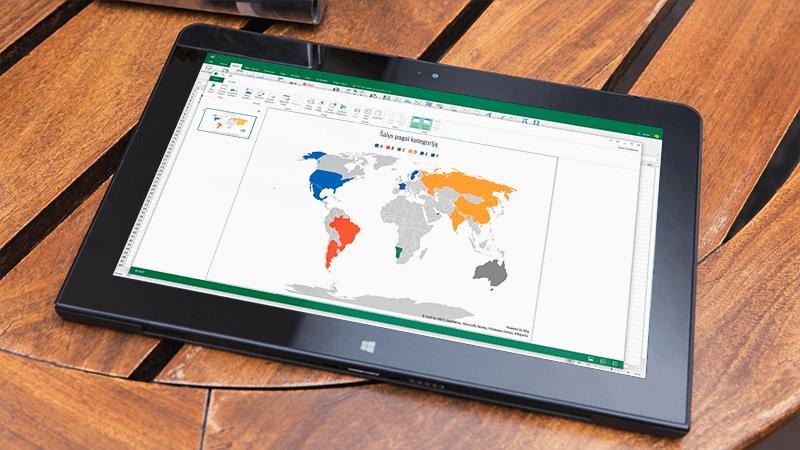 """""""Excel"""" žemėlapio diagrama"""