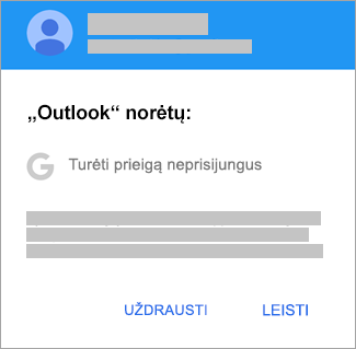 """Bakstelėkite Leisti, jei norite suteikti """"Outlook"""" prieigą neprisijungus."""