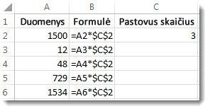 Skaičiai stulpelyje A, formulė stulpelyje B su $ simboliais ir skaičius 3 stulpelyje C