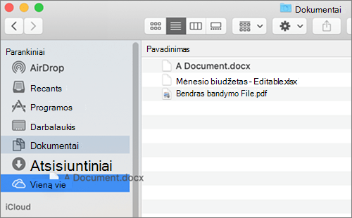 """""""Mac"""" ieškos langas, rodantis nuvilkimas ir palikimas perkelti failus"""