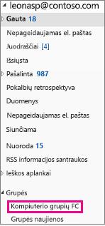 """""""Outlook 2016"""" naršymo sritis su paryškintu grupės"""