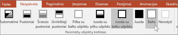 """rodomas """"PowerPoint"""" meniu Keisti pasirinktą objektą"""