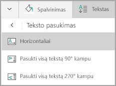 """Windows Mobile"" lentelės teksto pasukimas"