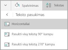 """""""Windows Mobile"""" lentelės teksto pasukimas"""