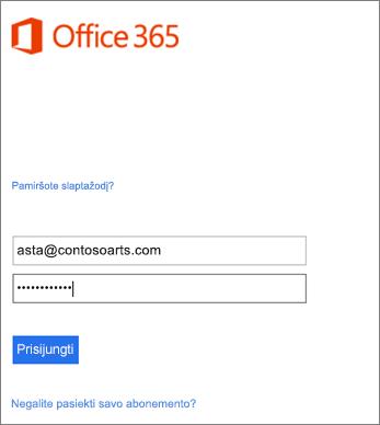 """Prisijungimas prie organizacijos paskyros naudojant """"Outlook"""""""