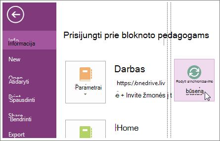 """""""OneNote"""" bloknotų sinchronizavimo būsenos peržiūra."""
