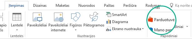 """Norėdami įdiegti """"Office"""" papildinius, naudokite mygtuką Store """"Office"""" juostelės skirtuke Įterpimas"""