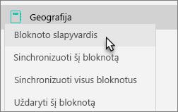 Rodomas komandos bloknotas su pažymėta parinktimi Nustatyti bloknotui slapyvardį