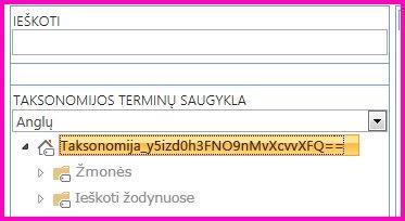 Medžio rodinio Terminų saugyklos tvarkymo įrankyje ekrano nuotrauka, kurioje matomas taksonomijos ir antrinių aplankų pavadinimas.