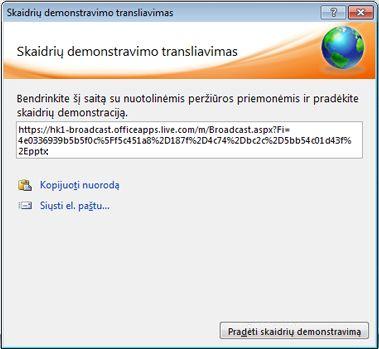 Dialogo langas Skaidrių demonstravimo transliavimas su skaidrių demonstravimo URL.