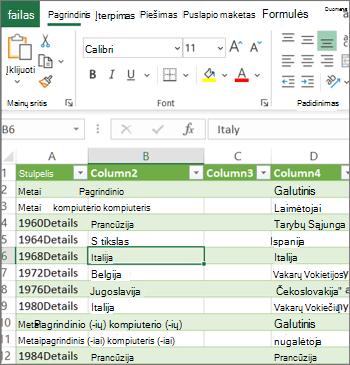 Įprastas Excel darbalapis