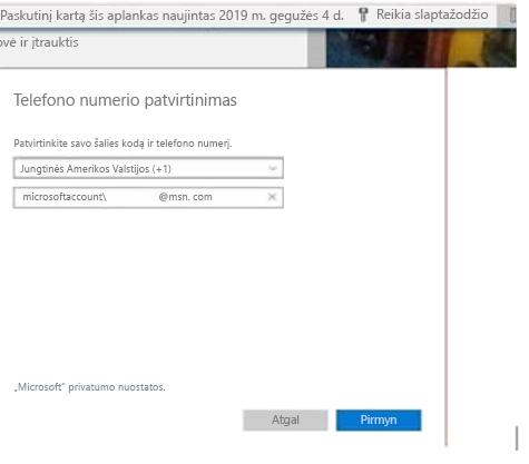 """""""Outlook.com"""" raginimas įvesti telefono numerį"""