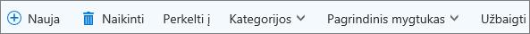 """Užduočių komandų juosta, skirta """"Outlook.com"""""""