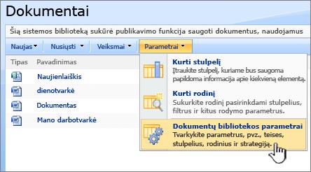 Dokumentų bibliotekos parametrai parinkties pasirinkimas iš meniu parametrai