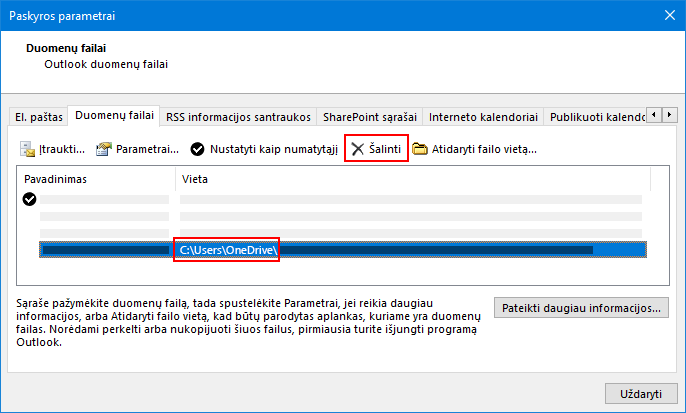 """Outlook"" duomenų failų dialogo langas"