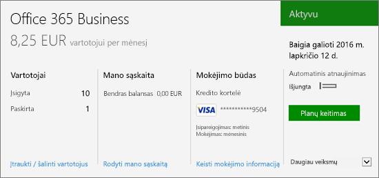 """Prenumeratos ekrano nuotrauka, kurioje rodoma jūsų turima prenumerata ir jos būsena, """"Office 365"""" administravimo centro Prenumeratų puslapyje."""